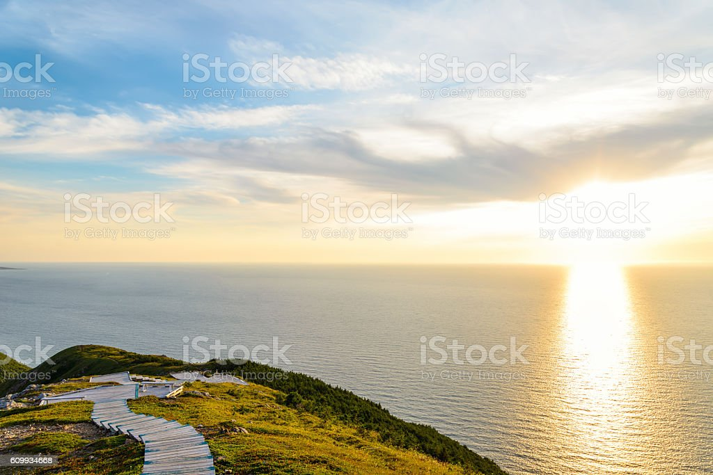 Skyline Trail look-off at sunset stock photo