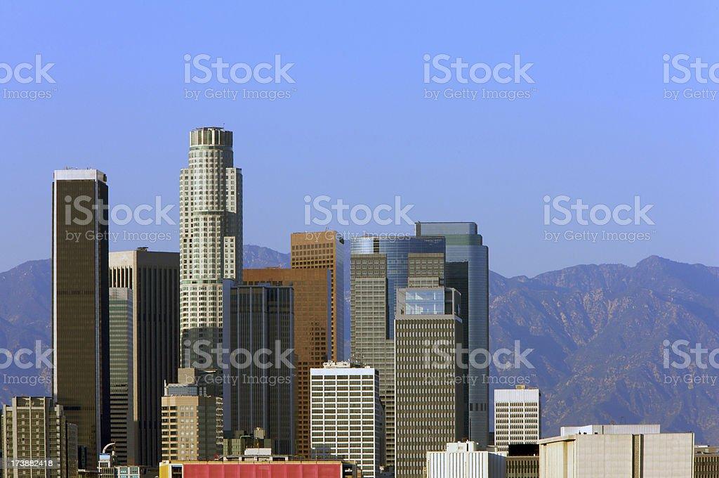 LA Skyline under blue sky stock photo