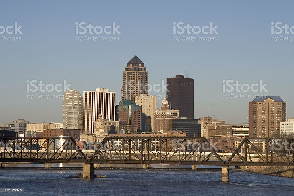 des moines skyline view royalty-free stock photo