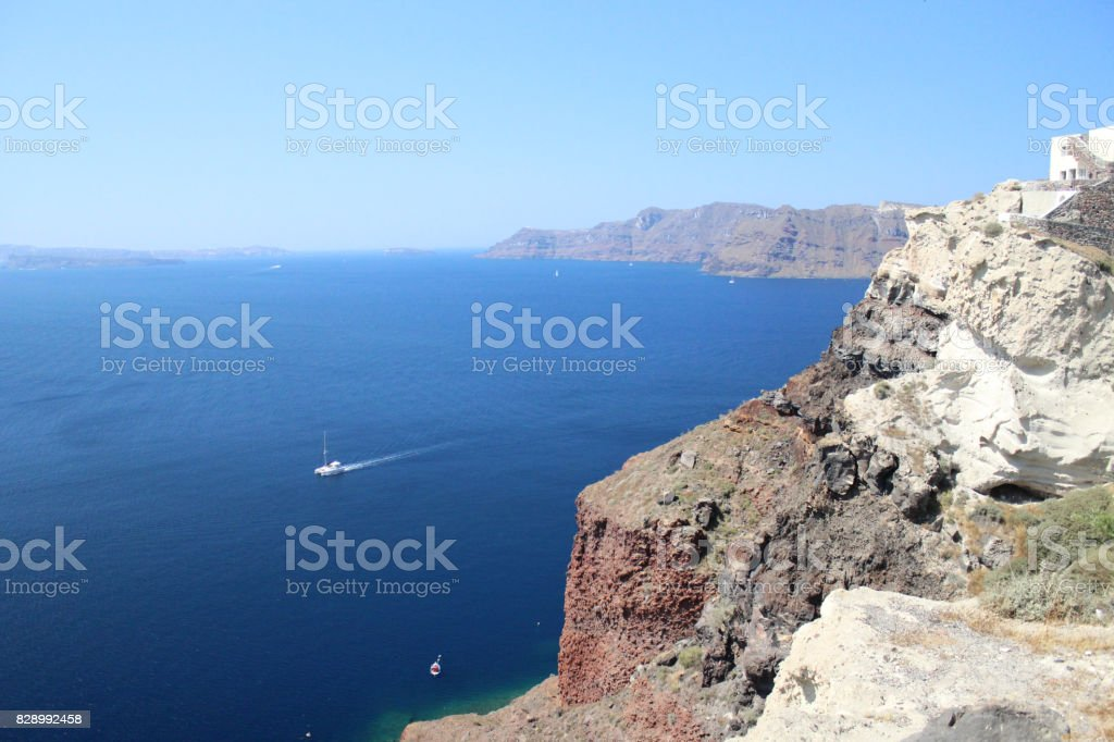 Skyline View of a Greek Island with Boats stock photo