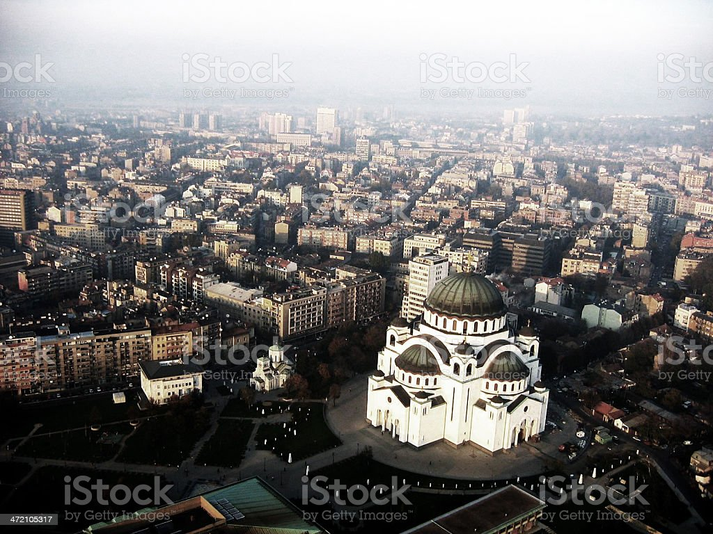 A skyline view of a lovely city at dusk in Russia stock photo