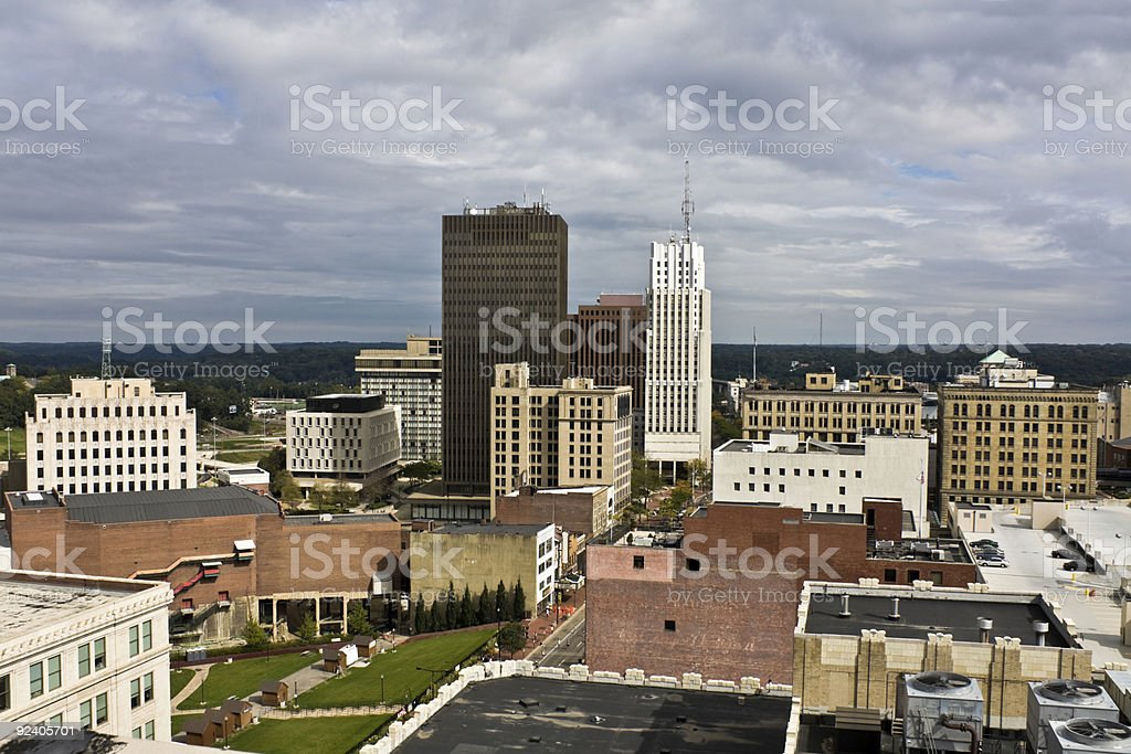 A skyline view of downtown buildings in Akron, Ohio stock photo