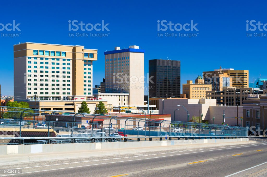 Skyline View of El Paso with Blue Sky stock photo