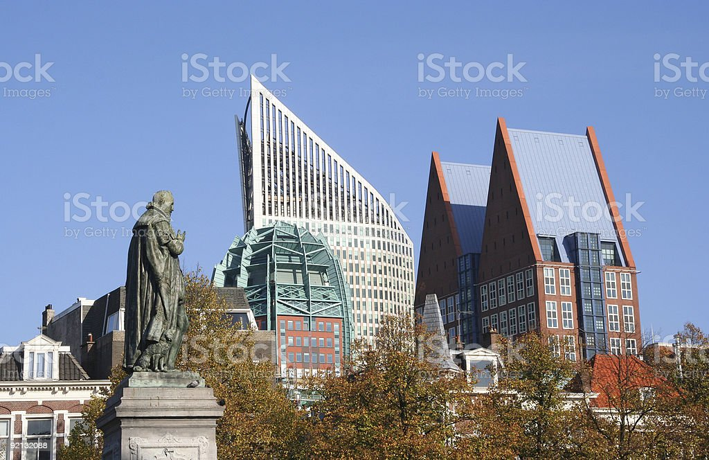 Skyline view of Hague in the daytime with a blue sky stock photo