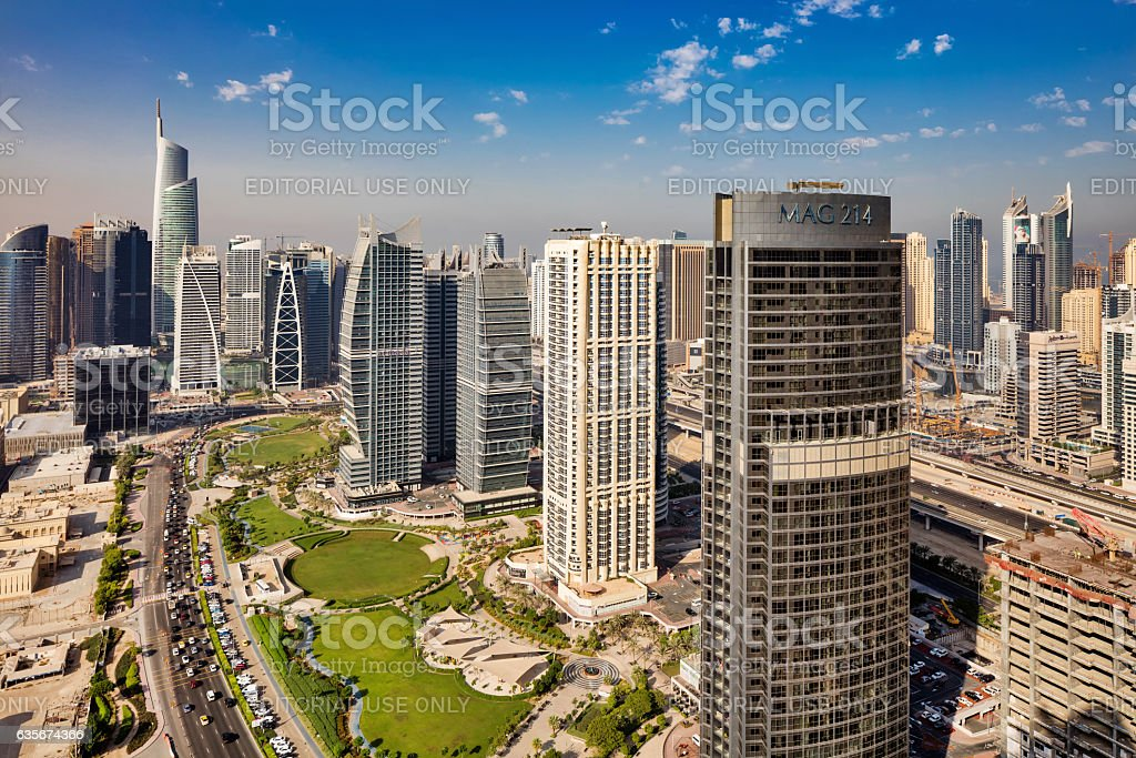 Skyline view of Jumeirah Lakes Towers, Dubai, UAE stock photo