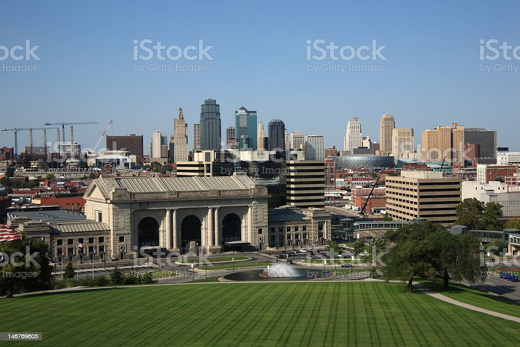 Skyline view of Kansas city in the summer stock photo