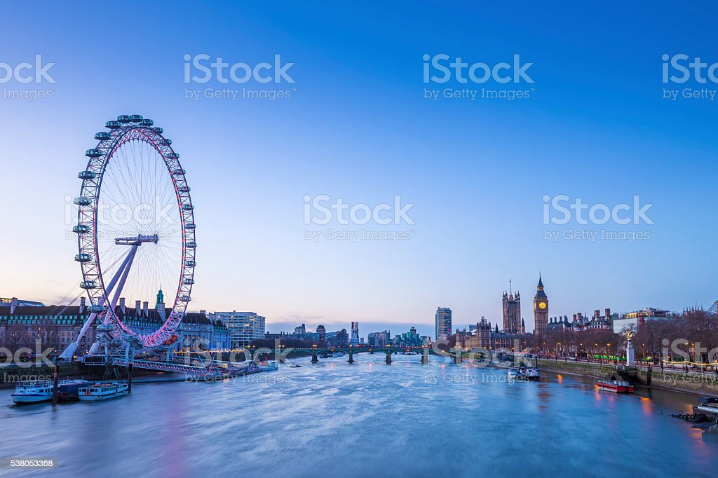 Skyline view of London before sunrise with Big Ben stock photo