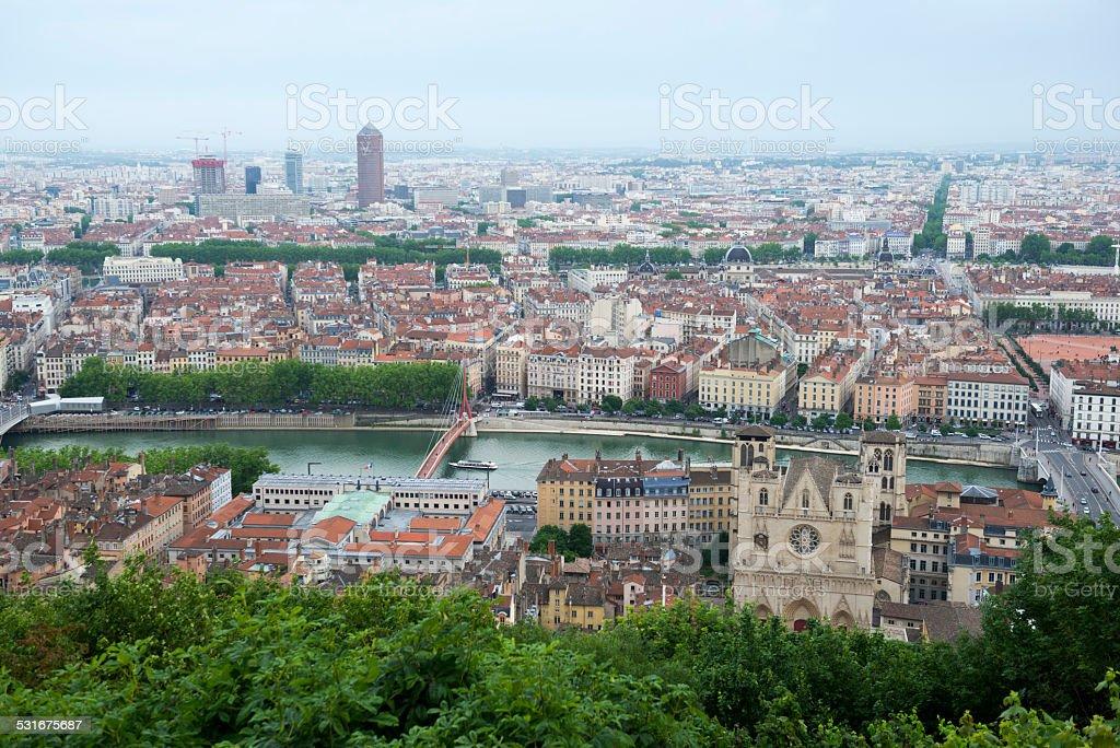 Skyline view of Lyon from Notre-Dame de Fourvi?re stock photo