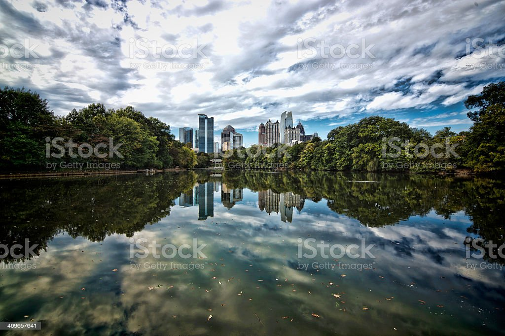 Skyline view of midtown Atlanta from the river stock photo