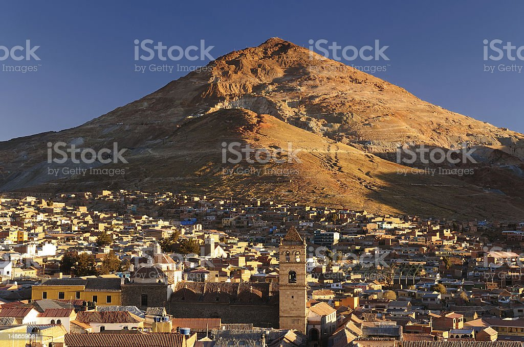 Skyline view of Potosi city in Bolivia stock photo