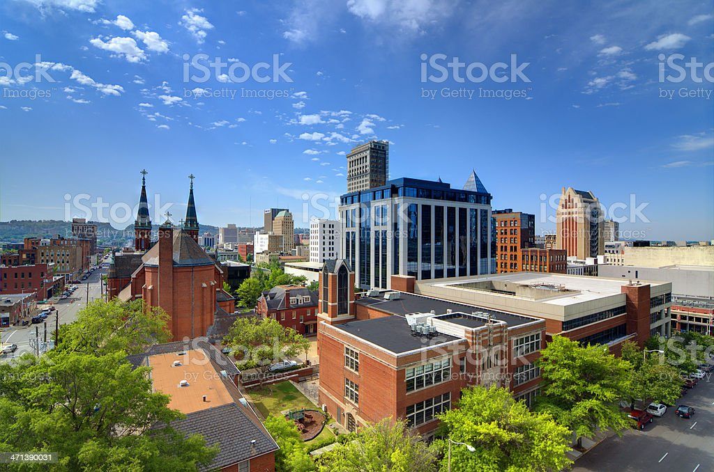 Skyline view of small city, brick buildings with blue sky stock photo