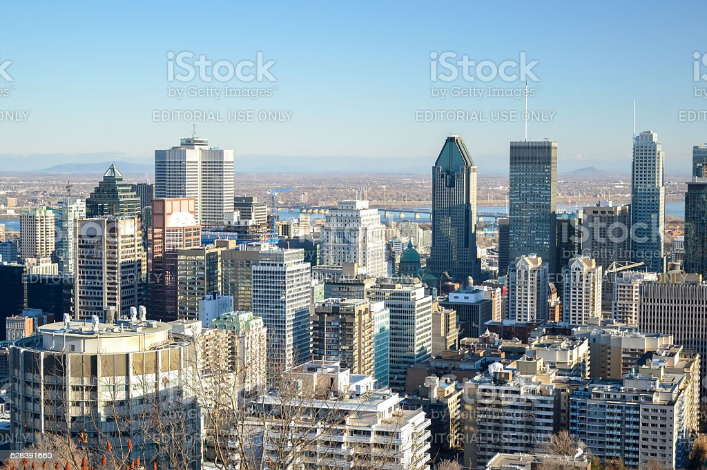 Skyline view on historical Old Montreal and the Montreal skyline stock photo
