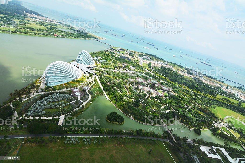 skyline view on Singapore gardens stock photo
