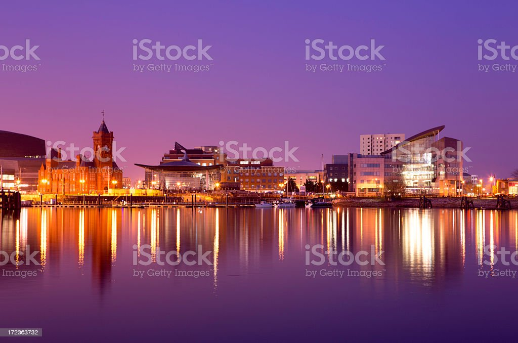 Skyline view overlooking Cardiff Bay stock photo