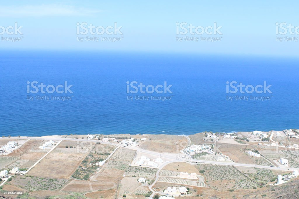 Skyline Views During the Day Time of Greek Island Shore stock photo