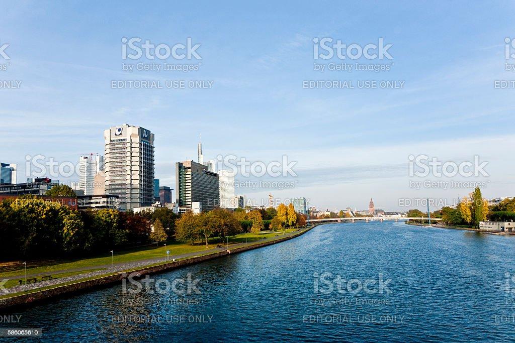 Skyline von Frankfurt, view from 'Friedensbruecke' over the rive stock photo