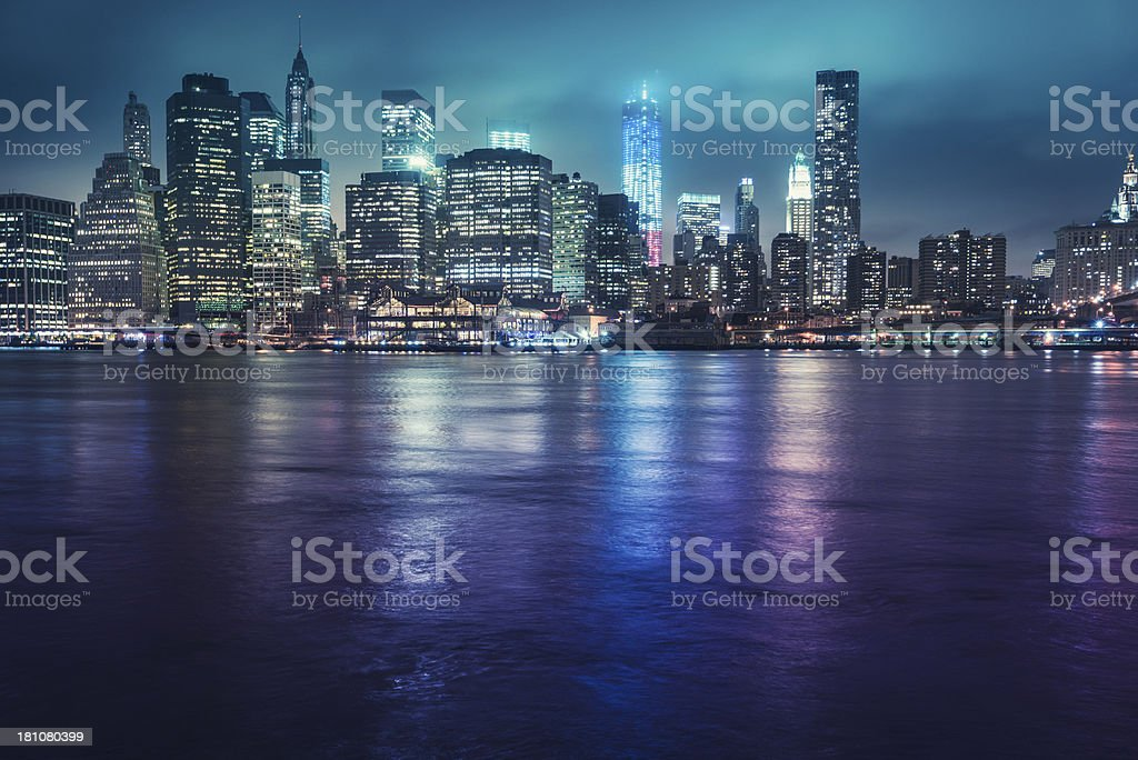 NYC skyline with colored world trade center royalty-free stock photo
