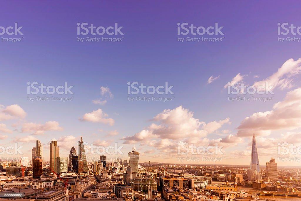 Skyline with landmarks of London at sunset stock photo