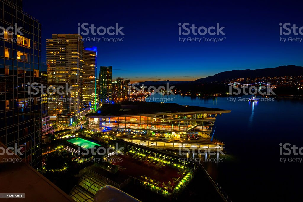 Skyline with Living Green Roof: Vancouver Convention Centre Canada stock photo