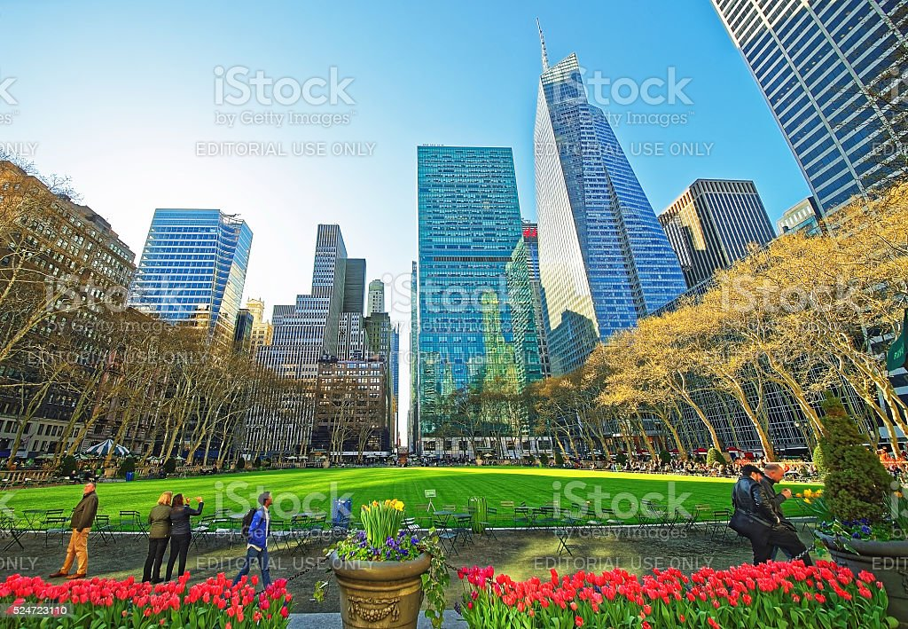 Skyline with Skyscrapers and tourists of Bryant Park stock photo