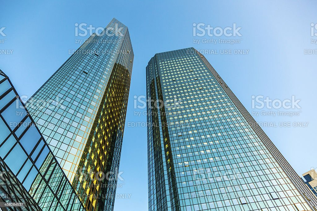 Skyline with the 155 meter high twin towers Deutsche Bank stock photo