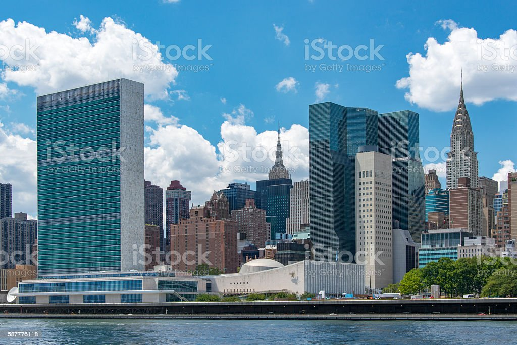 NY Skyline with United Nations , Chrysler and Empire State Building stock photo