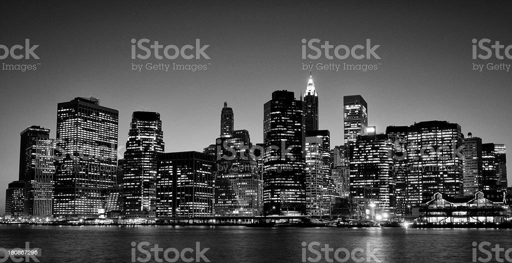NYC Skyline,Lower Manhattan.Black And White. royalty-free stock photo