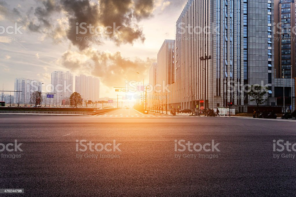 skyline,urban road,buildings at sunset stock photo