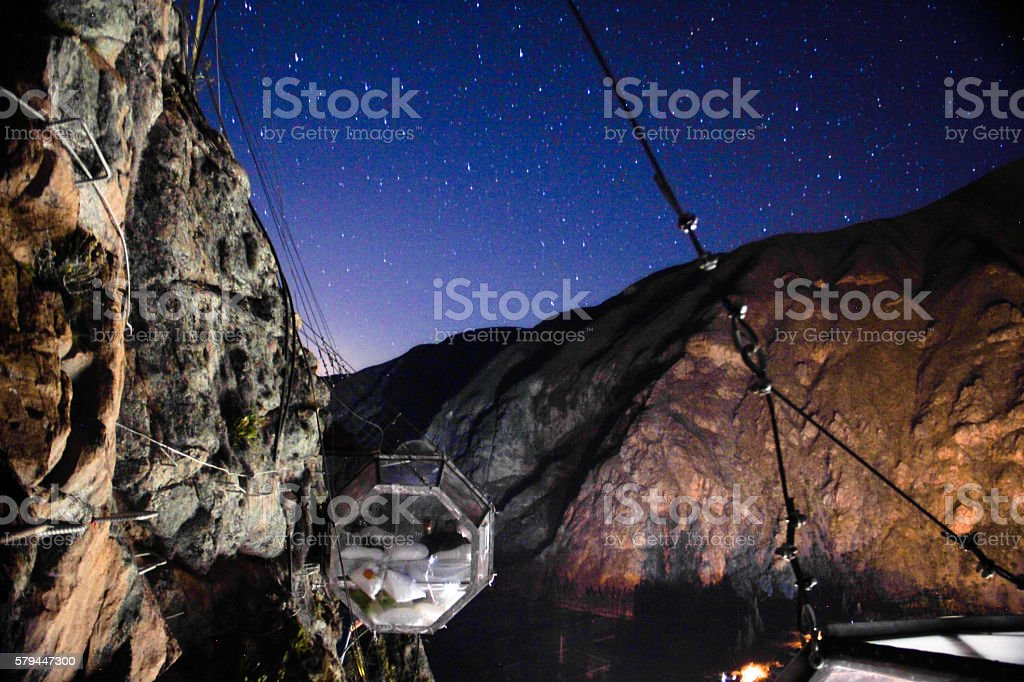 Skylodge by night, starry and blue sky, Sacred Valley, Peru stock photo