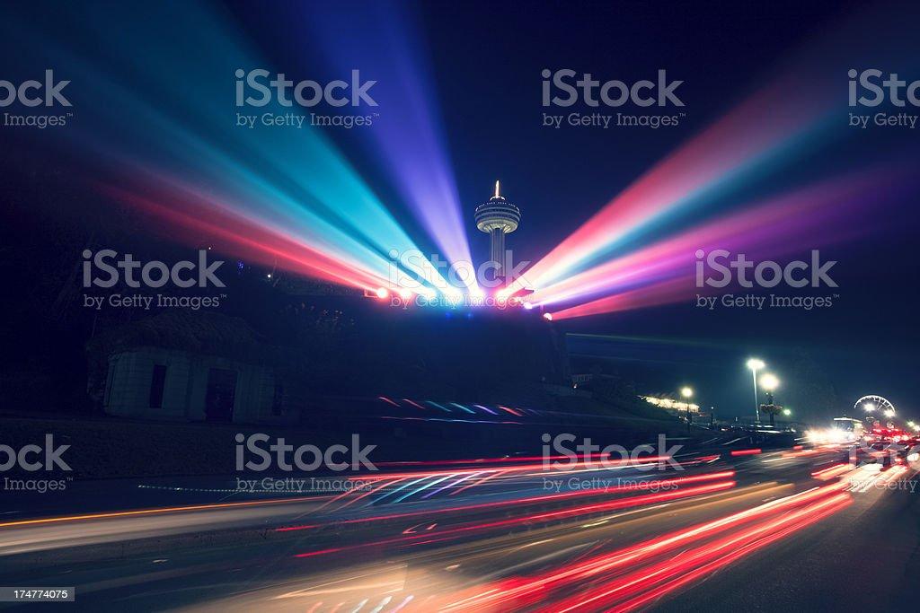 Skylon Tower and light show in Niagara Falls stock photo