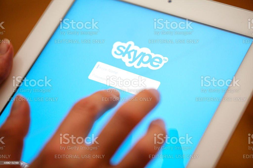 Skype apllication displayed Apple iPad. royalty-free stock photo
