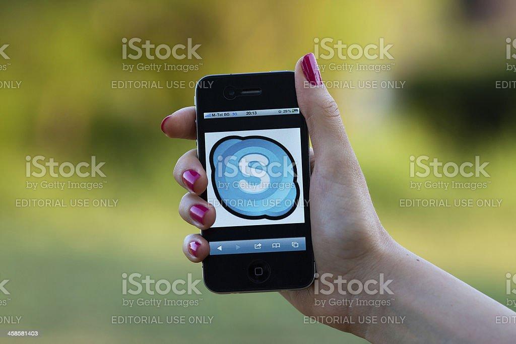 Skype Logo on iphone 4 stock photo