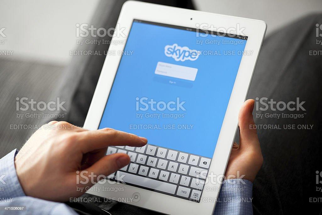 Skype on iPad stock photo