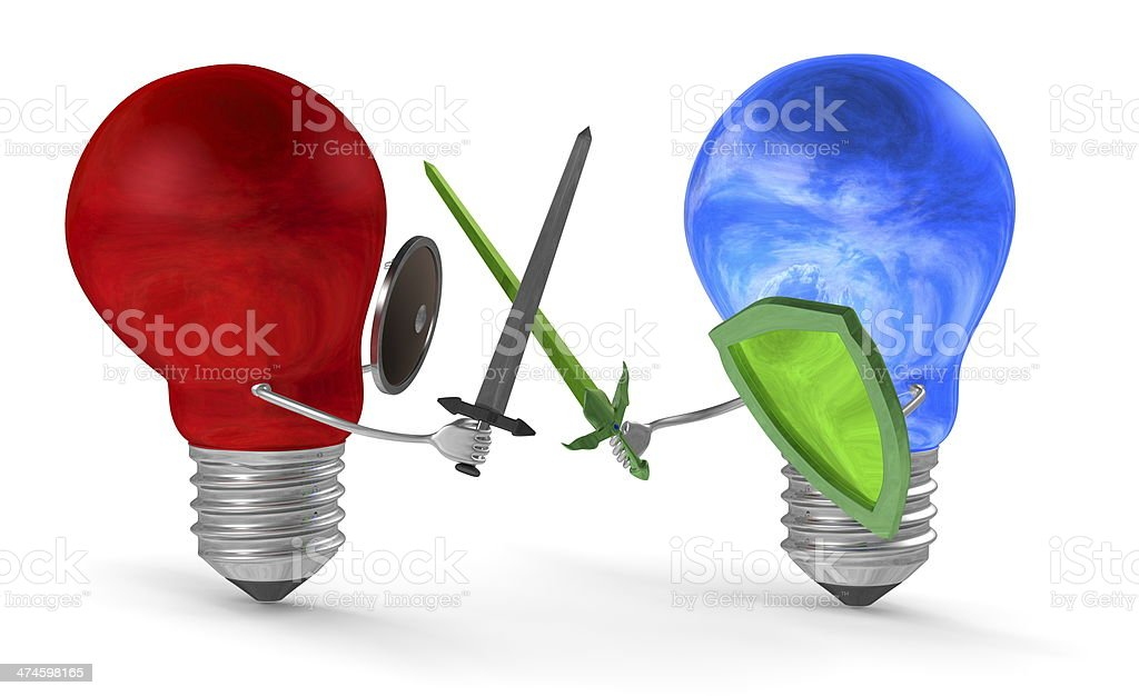 Sky-reflecting lightbulb fighting with swords and shields against red one stock photo