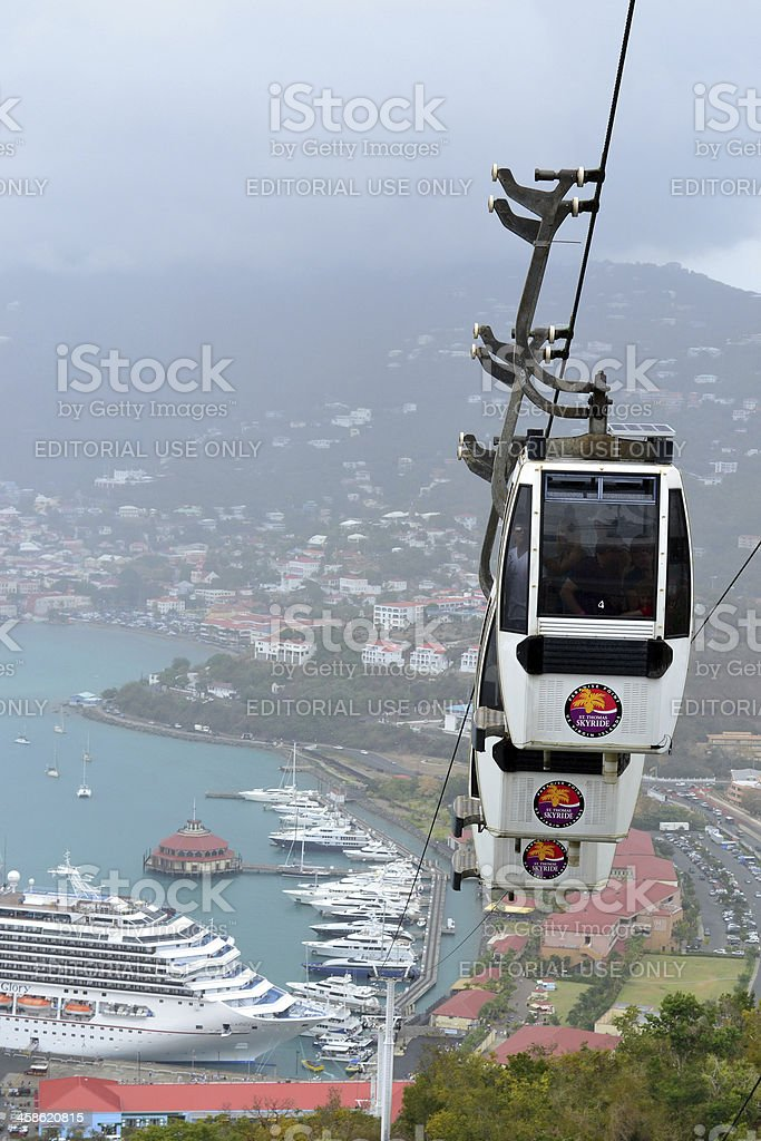 Skyride Cars to Paradise Point from Long Bay Charlotte Amalie stock photo