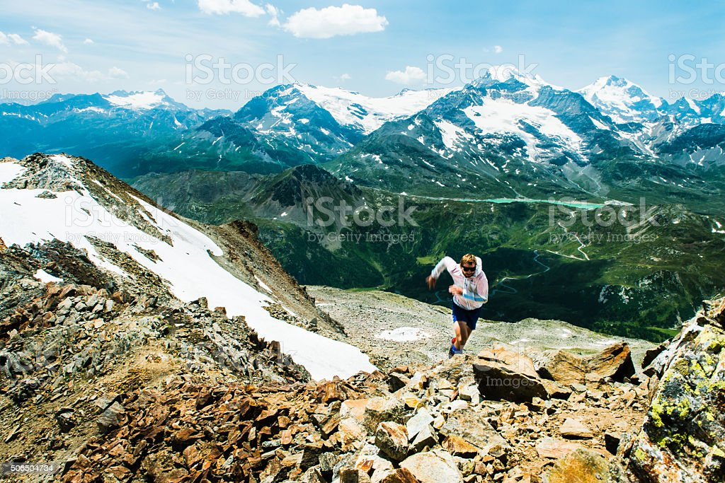 Skyrunning in the Alps stock photo