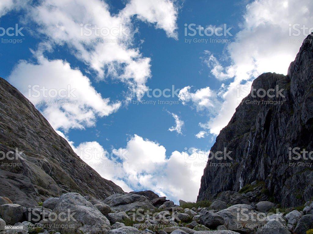 skys above alpine mountain of Switzerland stock photo