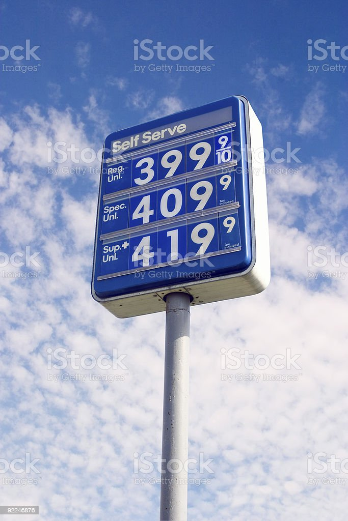 Sky's the Limit - Gas Price Sign royalty-free stock photo