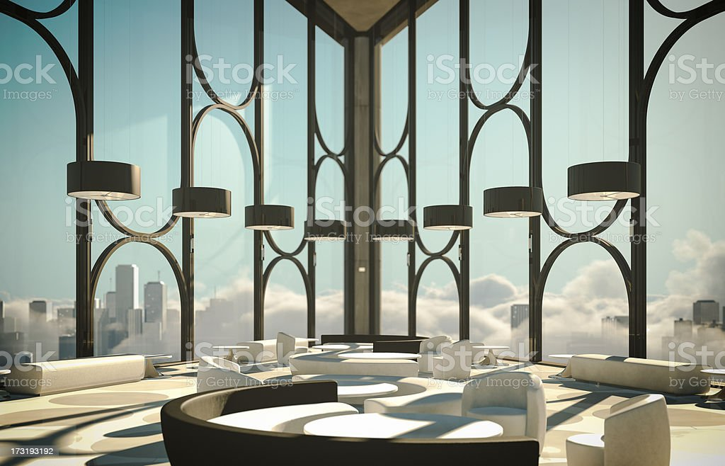 Skyscapers Modern Lobby Above Clouds And City stock photo
