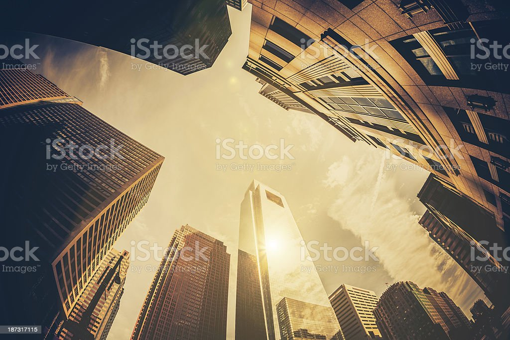 Skyscapers Office Buildings and Sun, Financial District, Philadephia, USA royalty-free stock photo