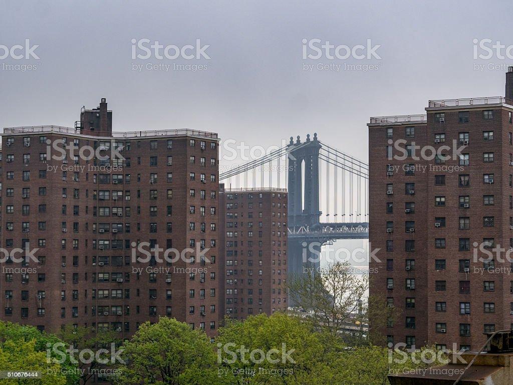 Skyscraper and Brooklyn Bridge royalty-free stock photo