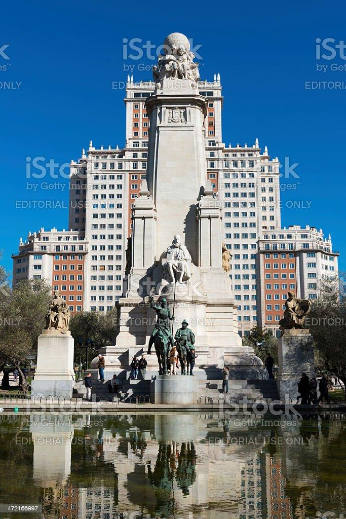 Skyscraper and fountain in the Plaza de Espa?a in Madrid stock photo