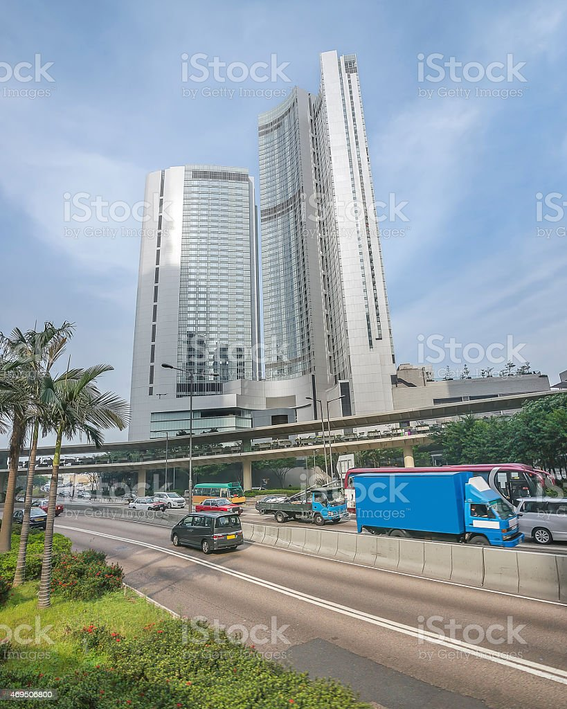 Skyscraper and traffic in central Hong Kong stock photo