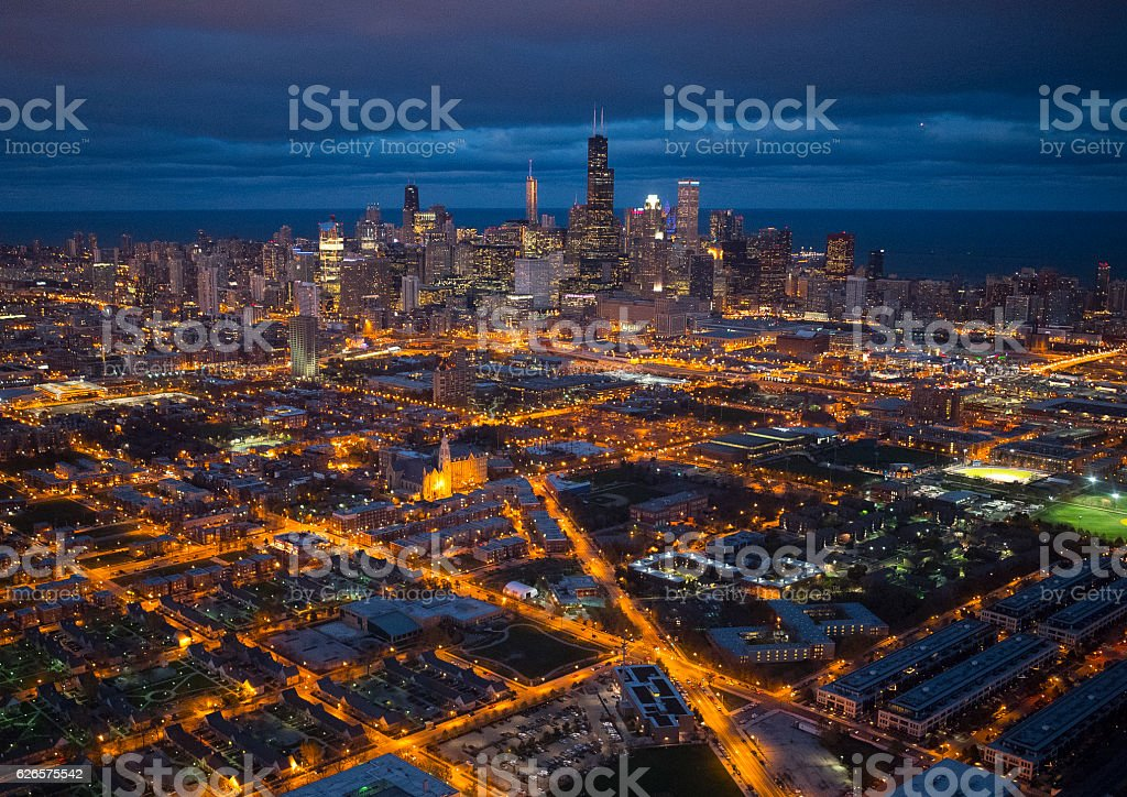 Skyscraper and Wrigley field stock photo