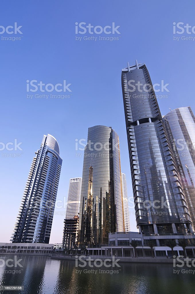 Skyscraper Apartments and marina royalty-free stock photo