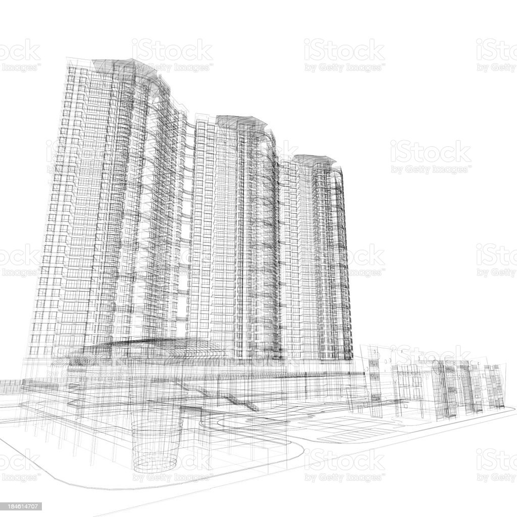 Skyscraper architecture Blueprint royalty-free stock photo