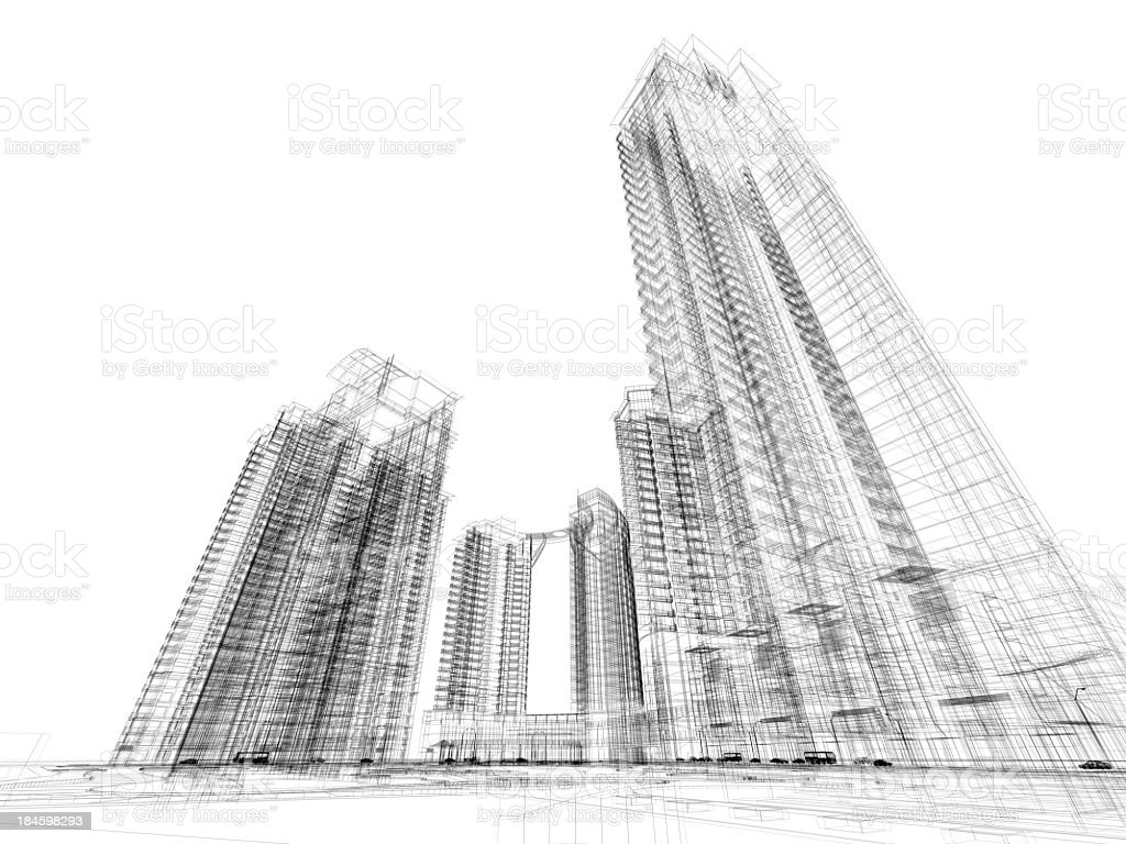 Skyscraper Architecture Blueprint Wire Frame Stock Photo