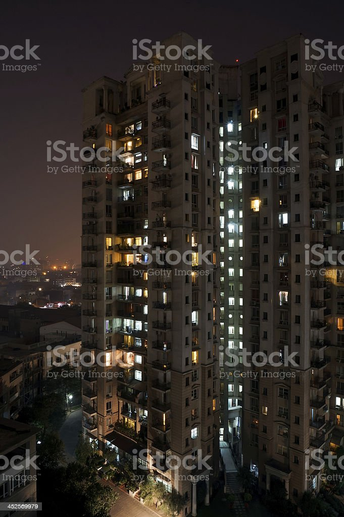 Skyscraper at night stock photo