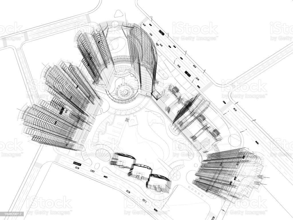 Skyscraper  Blueprint  Wire Frame royalty-free stock photo