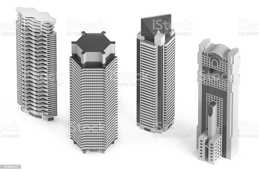 Skyscraper building isolated stock photo